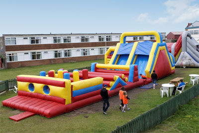 our full size inflatable assault course.