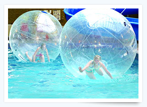 Try out the Water Walkerz in the heated indoor swimming pool