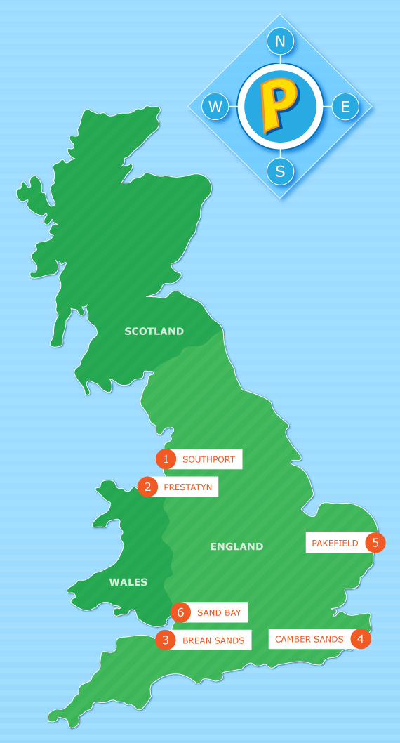 Map of the UK pinpointing our 6 UK holiday parks